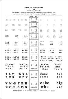 Near Point Test Card w/First Grade Words